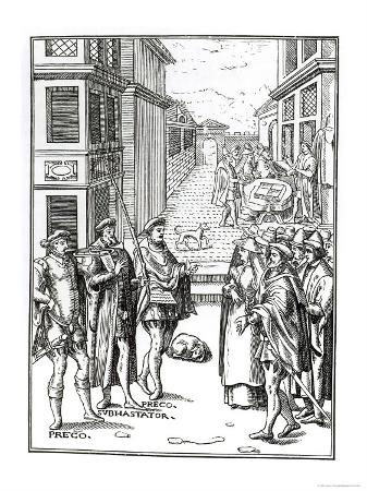 "Sale by Town Crier, after a Woodcut in ""Praxis Rerum Civilium"""