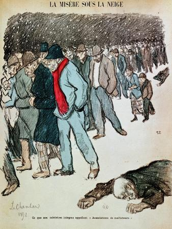 """The Misery of Workers and the Unemployed in the Snow, Illustration from """"Le Chambard Socialiste"""""""