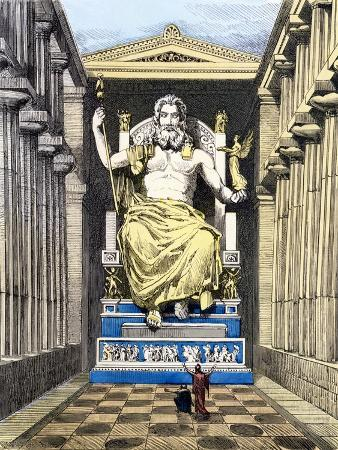 "Statue of Olympian Zeus by Pheidias, from a Series of the ""Seven Wonders of the Ancient World"""