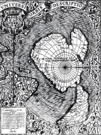 """The South Pole, Detail from the """"Mappamonde a Projection Cordiforme,"""" 1531"""