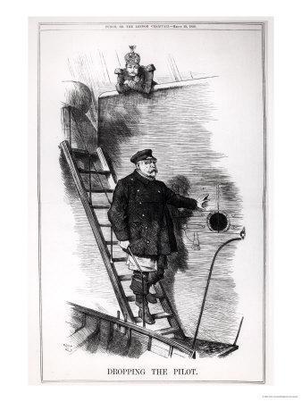 """Dropping the Pilot,"" Caricature of Otto Von Bismarck and Kaiser Wilhelm II"