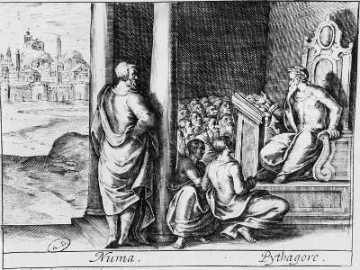 """Pythagoras Teaching a Class of Students, Illustration from Ovid's """"Metamorphoses"""""""