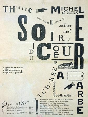 "Poster Advertising ""Soiree Du Coeur a Barbe"" at the Theatre Michel 6th and 7th July 1923"