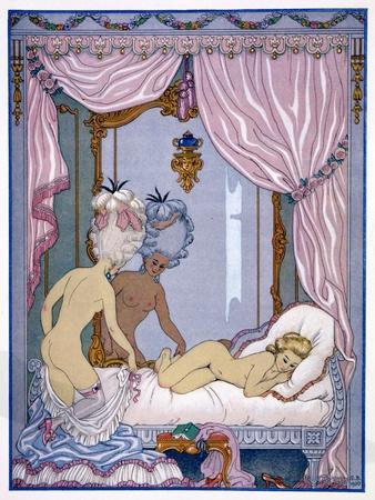 """Bedroom Scene from """"Les Liaisons Dangereuses"""" by Pierre Choderlos De Laclos Published 1920s"""