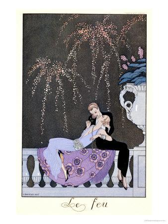 """The Fire, Illustration for """"Fetes Galantes"""" by Paul Verlaine 1924"""