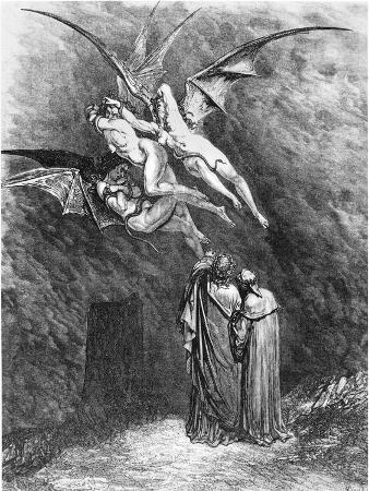 "Virgil (70-19 BC) Dante and the Erinyes, Illustration from ""The Divine Comedy"""