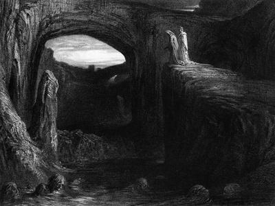 """Virgil (70-19 BC) and Dante Entering Hell, Illustration from """"The Divine Comedy"""""""