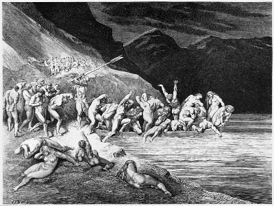 """Charon, Illustration from """"The Divine Comedy"""" by Dante Alighieri Paris, Published 1885"""