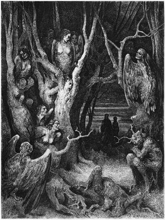 """Harpies, Illustration from """"The Divine Comedy"""" by Dante Alighieri Paris, Published 1885"""