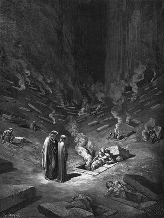 """Heresiarchs, Illustration from """"The Divine Comedy"""" by Dante Alighieri Paris, Published 1885"""