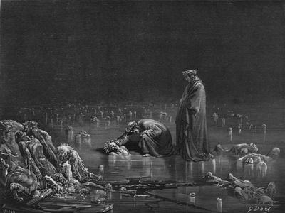 """Virgil and Dante, Illustration from """"The Divine Comedy"""" by Dante Alighieri Paris, Published 1885"""