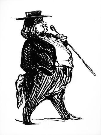 """Honore De Balzac with a Cane, Probably Drawn for the Book """"Physiologie Du Rentier,"""" circa 1841"""