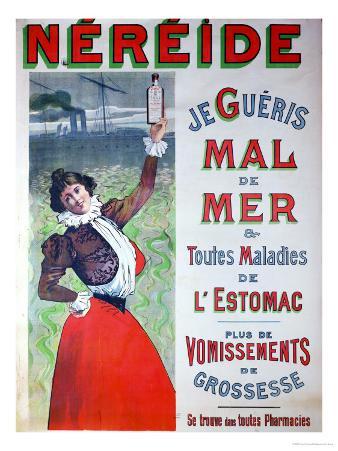 "Advertisement for ""Nereide"" Medicine Against Seasickness, circa 1900"