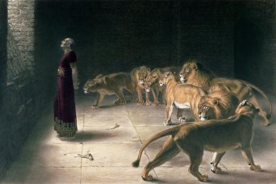 Daniel in the Lions Den, Mezzotint by J. B. Pratt, with Hand Colouring