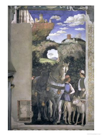 Horse and Groom with Hunting Dogs, from the Camera Degli Sposi or Camera Picta, 1465-74 (Detail)