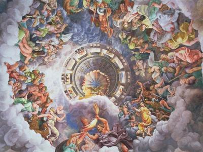 The Gods of Olympus, Trompe L'Oeil Ceiling from the Sala Dei Giganti, 1528
