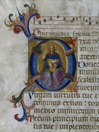 """Historiated Initial """"D"""" Depicting King David with Lyre, from a Psalter from San Marco E Cenacoli"""