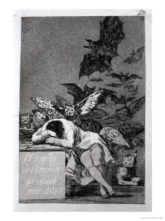 """The Sleep of Reason Produces Monsters, Plate 43 of """"Los Caprichos,"""" 1799"""
