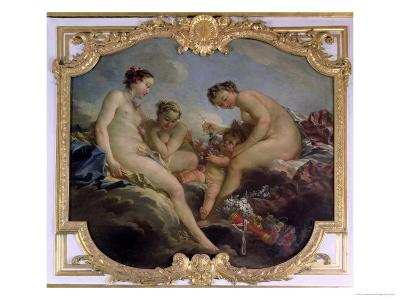 The Three Graces, Decorative Panel from the Bedroom of the Princess of Rohan, circa 1735-40