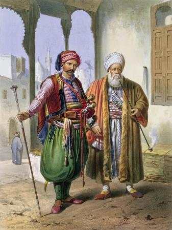 """A Janissary and a Merchant in Cairo, Illustration from """"The Valley of the Nile"""""""