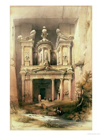 """Petra, March 7th 1839, Plate 92 from Volume III of """"The Holy Land"""""""
