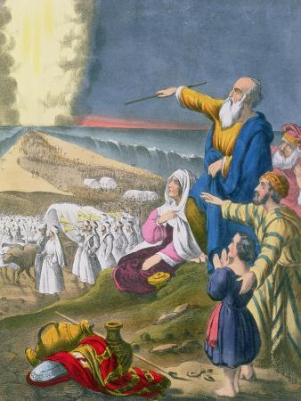 Moses Parting the Red Sea, from a Bible Printed by Edward Gover, 1870s