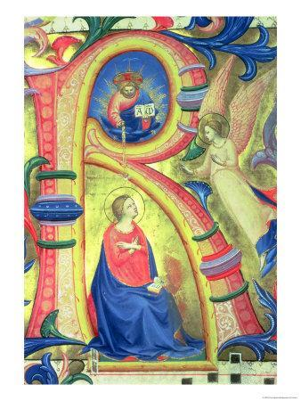"""The Annunciation Depicted in an Historiated Initial """"R"""""""