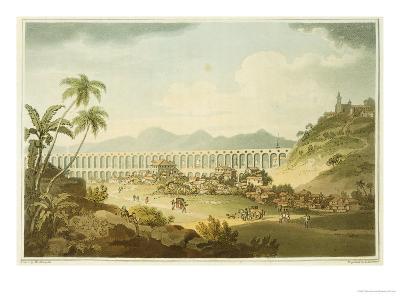 "Arcos De Carioco, or Grand Aqueduct in Rio De Janeiro, Plate 5 from ""A Voyage to Cochinchina"""