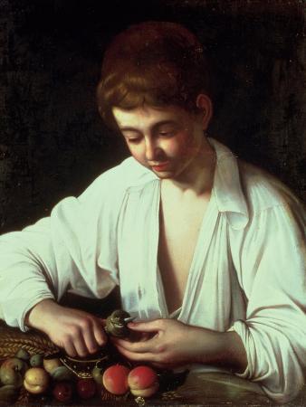 A Young Boy Peeling an Apple