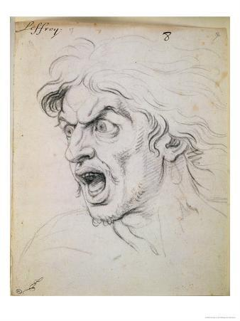 """The Head of a Man Screaming in Terror, a Study for the Figure of Darius in """"The Battle of Arbela"""""""