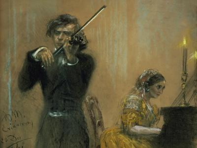 Clara Schumann and a Violinist, 1854