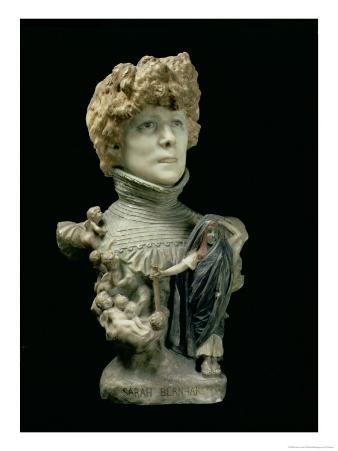 Portrait Bust of Sarah Bernhardt French Actress, circa 1890