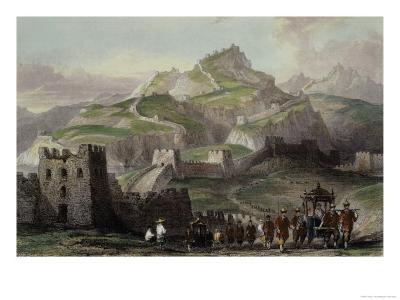 """The Great Wall of China, from """"China in a Series of Views"""" by George Newenham Wright 1843"""