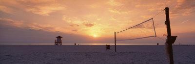 Sunset Over a Beach, Gulf of Mexico, Venice Beach, Venice, Florida, USA