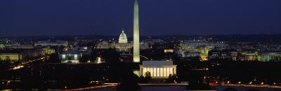 Buildings Lit Up at Night, Washington Monument, Washington DC, District of Columbia, USA