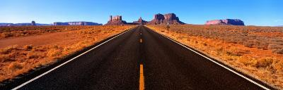Empty Road, Clouds, Blue Sky, Monument Valley, Utah, USA