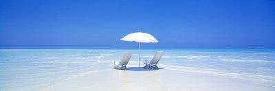 Beach, Ocean, Water, Parasol and Chairs, Maldives