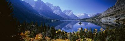 Mountains Reflected in Lake, Glacier National Park, Montana, USA