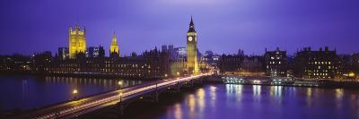 Big Ben Lit Up at Dusk, Houses of Parliament, London, England, United Kingdom