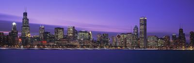 View of an Urban Skyline at Dusk, Chicago, Illinois, USA