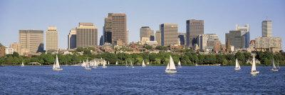 Panoramic View of an Urban Skyline by the Shore, Boston, Massachusetts, USA