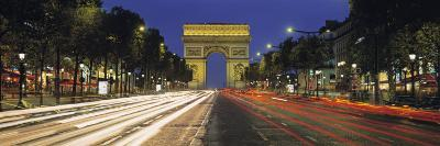View of Traffic on an Urban Street, Champs Elysees, Arc De Triomphe, Paris, France