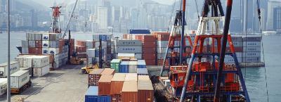 Shipping Containers, Victoria Harbor, Hong Kong, China