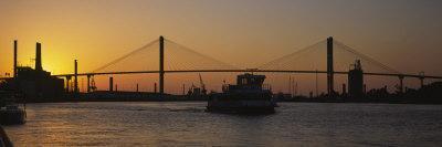 Silhouette of a Bridge at Dusk, Talmadge Bridge, Savannah, Georgia, USA