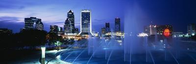 Fountain, Cityscape, Night, Jacksonville, Florida, USA