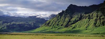 View of Farm and Cliff in the South Coast, Sheer Basalt Cliffs, South Coast, Iceland