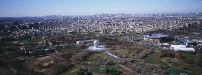 Aerial View of World's Fair Globe, from Queens Looking Towards Manhattan, New York City, NY, USA
