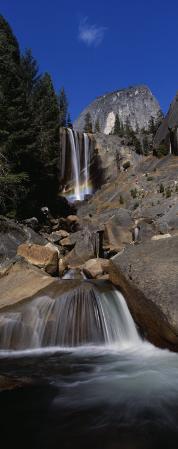 Low Angle View of a Waterfall, Vernal Falls, Yosemite National Park, California, USA