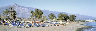 Tourists on the Beach, San Pedro, Costa Del Sol, Marbella, Andalusia, Spain