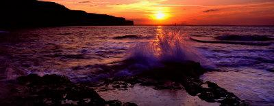 Wave Breaking on Rocks, Bempton, Yorkshire, England, United Kingdom